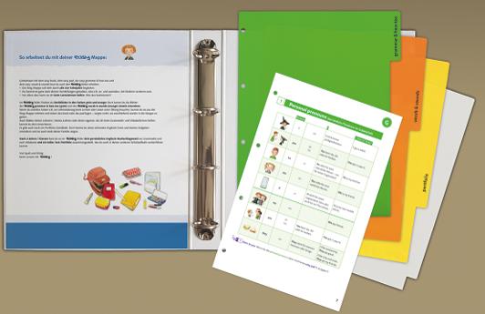 Die Ringmappe ist integraler Bestandteil des Lehrwerkskonzepts und der easy-Methode. Sie dient als (individuell befüllbare) Sammelmappe und als haptischer Englisch-Lernraum und Arbeitsplatz.