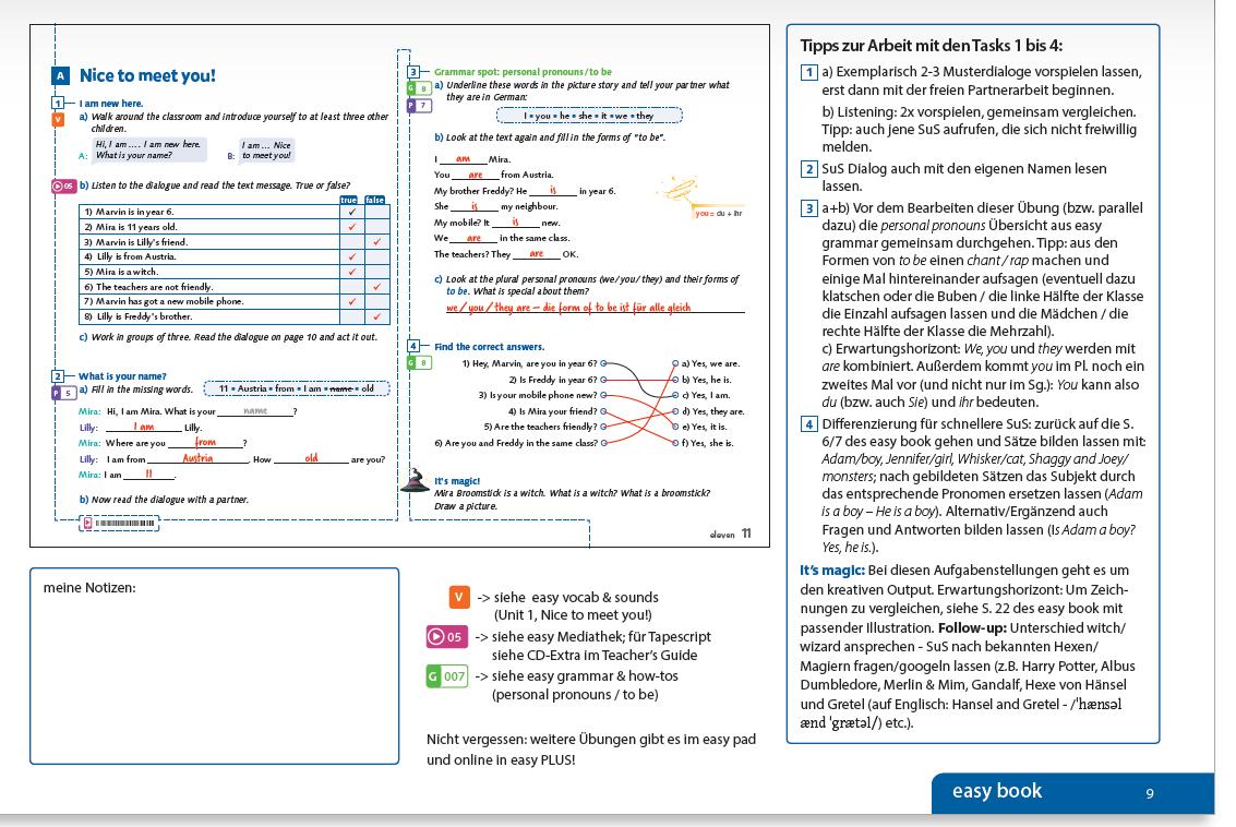 In die Doppelseiten des Teacher's Guide, die etwas verkleinert aber dennoch gut lesbar abgebildet sind, sind die Lösungen bereits farbig eingetragen. Rund um die abgebildete Mikro-Lerneinheit finden Sie methodisch-didaktische Hinweise und Tipps.